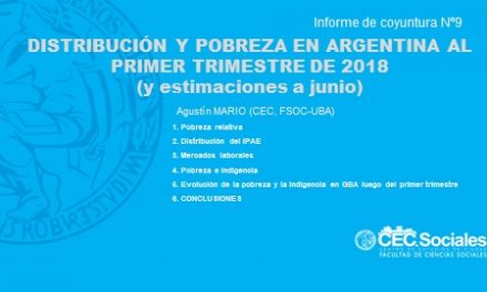 Informe de coyuntura Nº9: DISTRIBUCIÓN Y POBREZA EN ARGENTINA AL PRIMER TRIMESTRE DE 2018